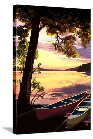 Canoe and Lake at Sunset-Lantern Press-Stretched Canvas Print