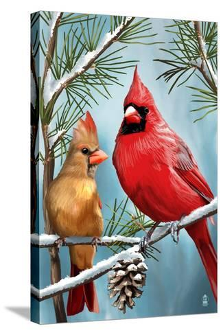 Cardinals in Winter-Lantern Press-Stretched Canvas Print