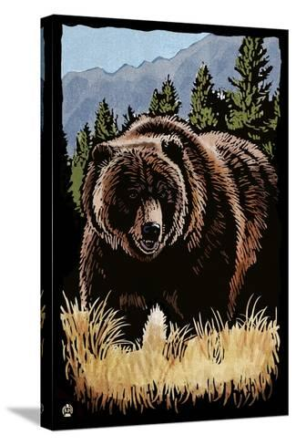 Grizzly Bear - Scratchboard-Lantern Press-Stretched Canvas Print