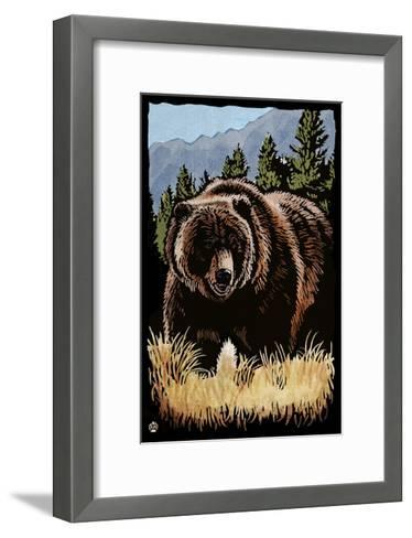 Grizzly Bear - Scratchboard-Lantern Press-Framed Art Print
