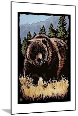 Grizzly Bear - Scratchboard-Lantern Press-Mounted Art Print