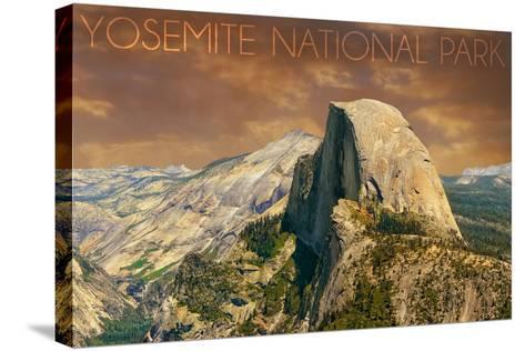 Yosemite National Park, California - Half Dome from Glacier Point-Lantern Press-Stretched Canvas Print