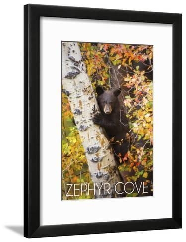 Zephyr Cove - Lake Tahoe, California - Bear Cub in Tree-Lantern Press-Framed Art Print