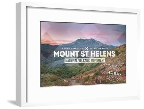Mount St. Helens, Washington - Rubber Stamp-Lantern Press-Framed Art Print