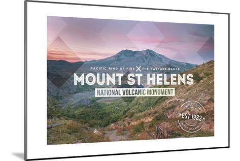 Mount St. Helens, Washington - Rubber Stamp-Lantern Press-Mounted Art Print