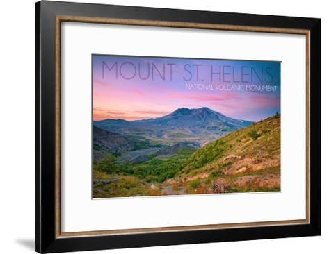 Mount St. Helens, Washington - Twilight Scene-Lantern Press-Framed Art Print