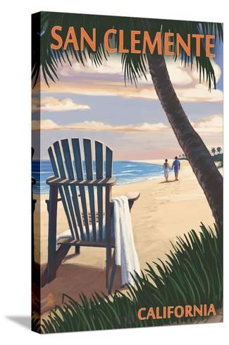San Clemente, California - Adirondack and Palms-Lantern Press-Stretched Canvas Print