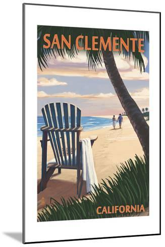 San Clemente, California - Adirondack and Palms-Lantern Press-Mounted Art Print