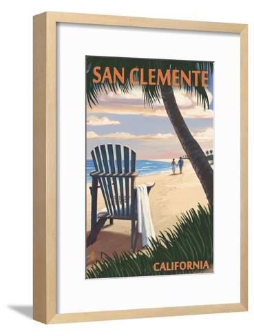 San Clemente, California - Adirondack and Palms-Lantern Press-Framed Art Print