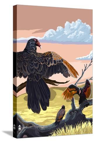 Vultures-Lantern Press-Stretched Canvas Print