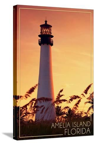 Amelia Island, Florida - Lighthouse and Seagrass-Lantern Press-Stretched Canvas Print