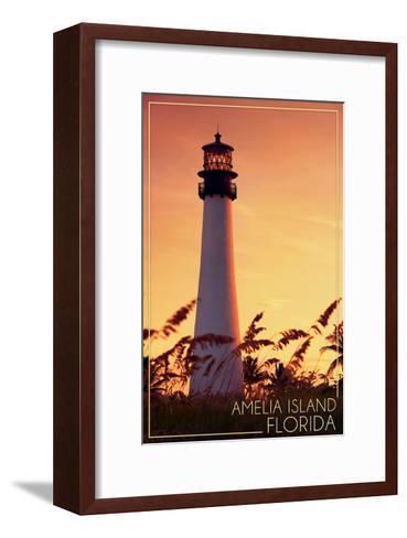 Amelia Island, Florida - Lighthouse and Seagrass-Lantern Press-Framed Art Print