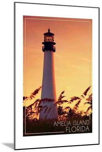 Amelia Island, Florida - Lighthouse and Seagrass-Lantern Press-Mounted Art Print