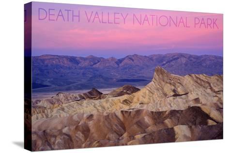 Death Valley National Park - Zabriskie Point and Sunset-Lantern Press-Stretched Canvas Print