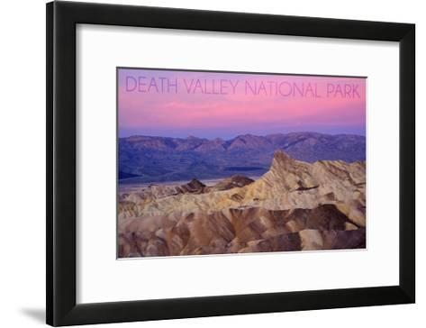 Death Valley National Park - Zabriskie Point and Sunset-Lantern Press-Framed Art Print