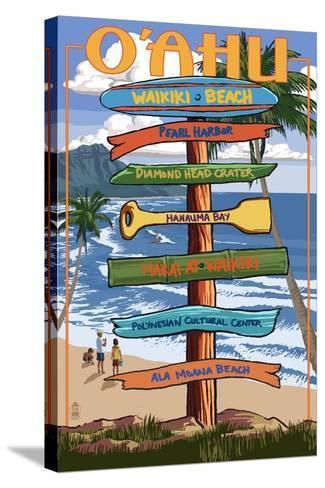 Waikiki Beach, Hawaii - Signpost Destinations-Lantern Press-Stretched Canvas Print