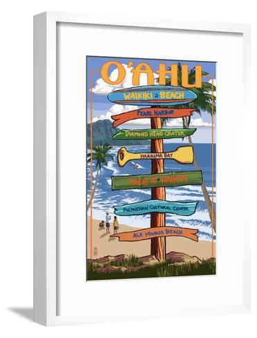 Waikiki Beach, Hawaii - Signpost Destinations-Lantern Press-Framed Art Print