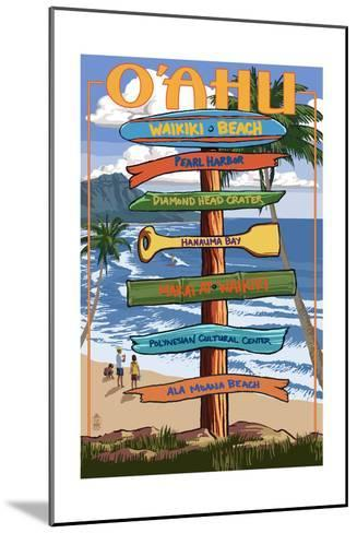 Waikiki Beach, Hawaii - Signpost Destinations-Lantern Press-Mounted Art Print