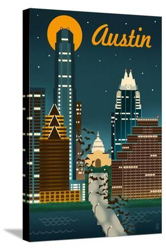Austin, Texas - Retro Skyline-Lantern Press-Stretched Canvas Print