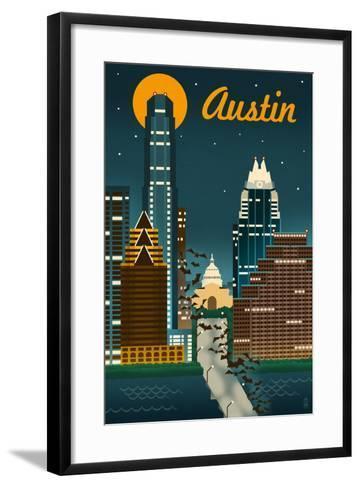 Austin, Texas - Retro Skyline-Lantern Press-Framed Art Print