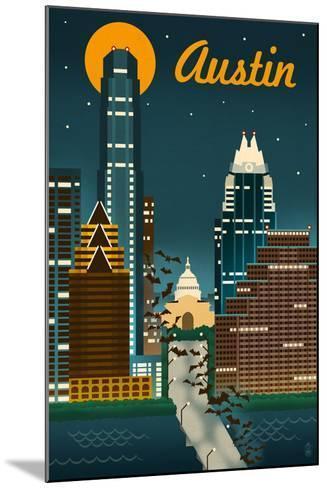 Austin, Texas - Retro Skyline-Lantern Press-Mounted Art Print
