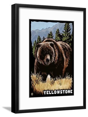 Bear Family - Grizzly Bear Scratchboard-Lantern Press-Framed Art Print