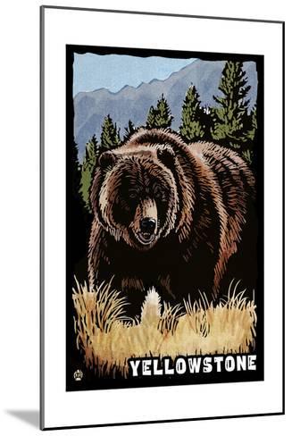 Bear Family - Grizzly Bear Scratchboard-Lantern Press-Mounted Art Print