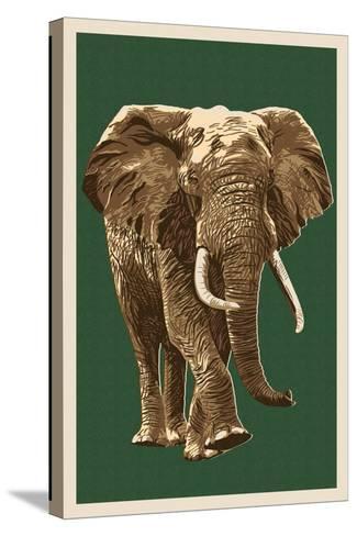 African Elephant - Letterpress-Lantern Press-Stretched Canvas Print
