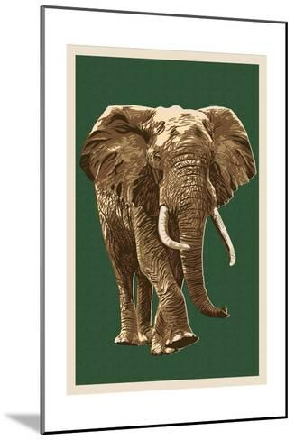 African Elephant - Letterpress-Lantern Press-Mounted Art Print