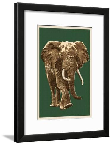 African Elephant - Letterpress-Lantern Press-Framed Art Print