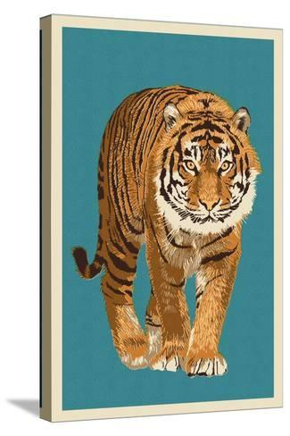 Tiger - Letterpress-Lantern Press-Stretched Canvas Print