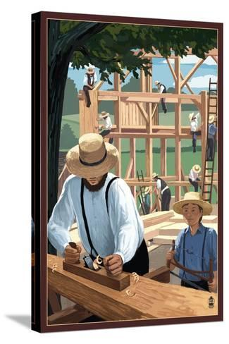 Amish Barnraising Scene-Lantern Press-Stretched Canvas Print