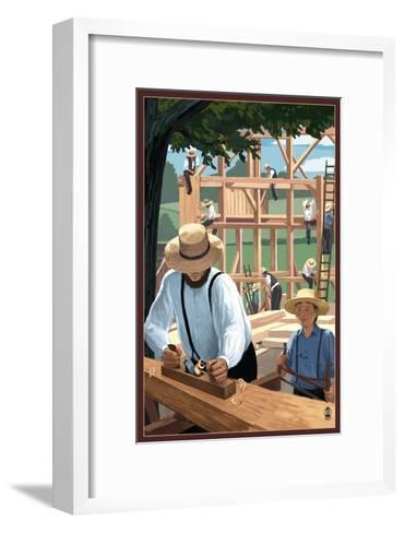 Amish Barnraising Scene-Lantern Press-Framed Art Print