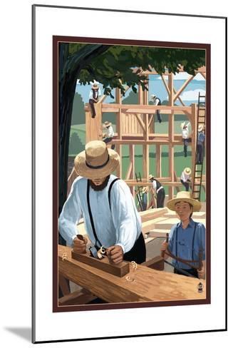 Amish Barnraising Scene-Lantern Press-Mounted Art Print