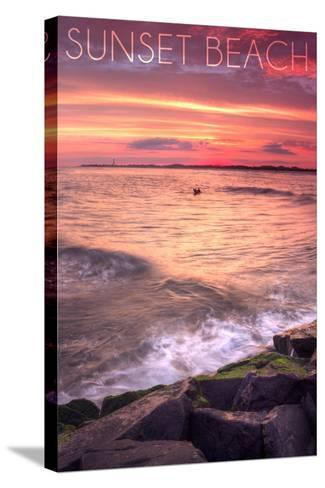 Cape May, New Jersey - Sunset Beach and Rocks-Lantern Press-Stretched Canvas Print