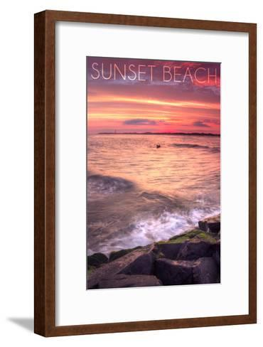 Cape May, New Jersey - Sunset Beach and Rocks-Lantern Press-Framed Art Print