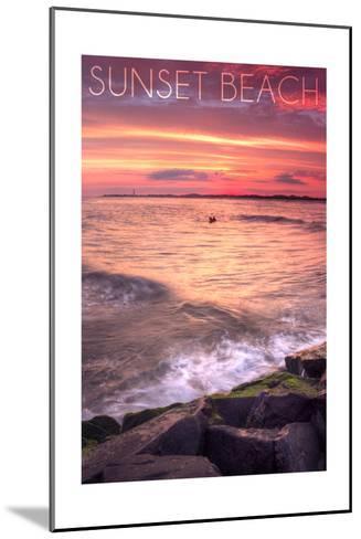 Cape May, New Jersey - Sunset Beach and Rocks-Lantern Press-Mounted Art Print