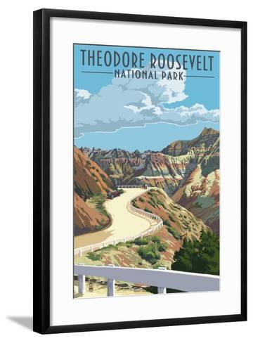 Theodore Roosevelt National Park, Nouth Dakota - Road Scene-Lantern Press-Framed Art Print