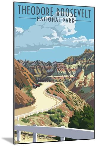 Theodore Roosevelt National Park, Nouth Dakota - Road Scene-Lantern Press-Mounted Art Print