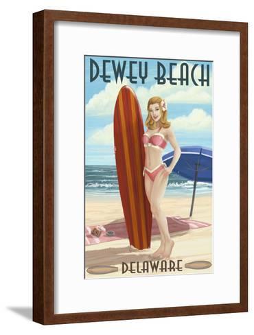 Dewey Beach, Delaware - Surfer Girl Pinup-Lantern Press-Framed Art Print