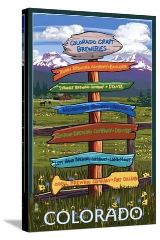 Colorado - Craft Breweries Singpost-Lantern Press-Stretched Canvas Print