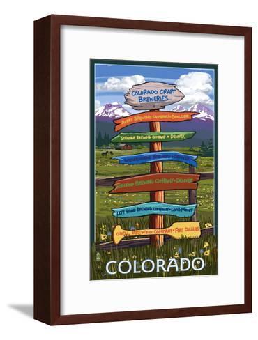 Colorado - Craft Breweries Singpost-Lantern Press-Framed Art Print