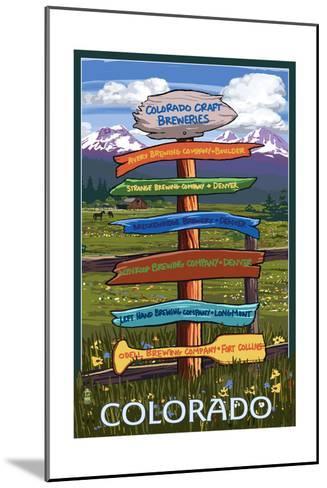 Colorado - Craft Breweries Singpost-Lantern Press-Mounted Art Print