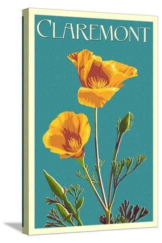 Claremont, California - Poppy - Letterpress-Lantern Press-Stretched Canvas Print
