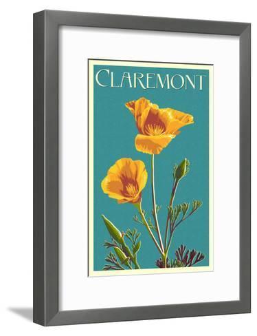 Claremont, California - Poppy - Letterpress-Lantern Press-Framed Art Print