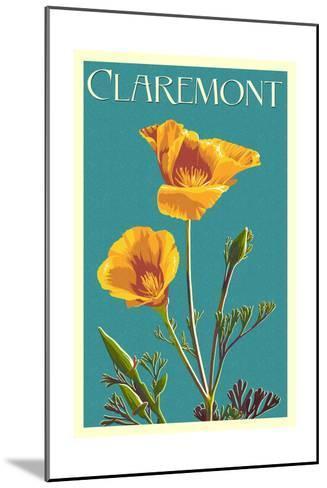 Claremont, California - Poppy - Letterpress-Lantern Press-Mounted Art Print