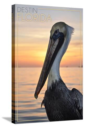 Destin, Florida - Pelican-Lantern Press-Stretched Canvas Print