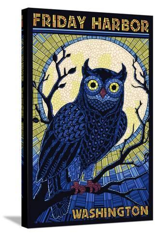 Friday Harbor, Washington - Owl Mosaic-Lantern Press-Stretched Canvas Print