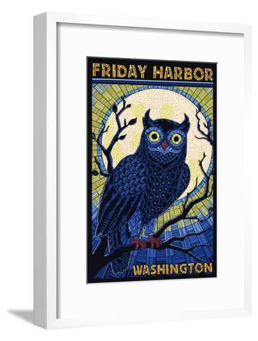 Friday Harbor, Washington - Owl Mosaic-Lantern Press-Framed Art Print