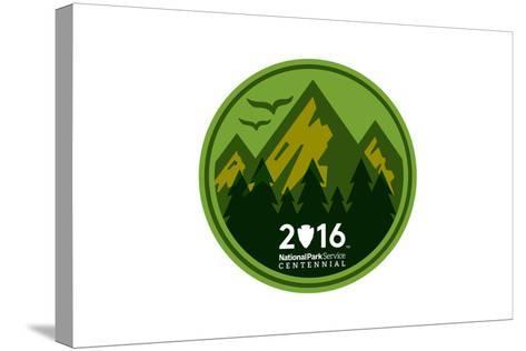 National Park Service Centennial - Mountains Round-Lantern Press-Stretched Canvas Print